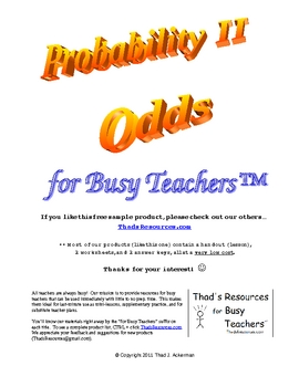 Probability II - Odds for Busy Teachers