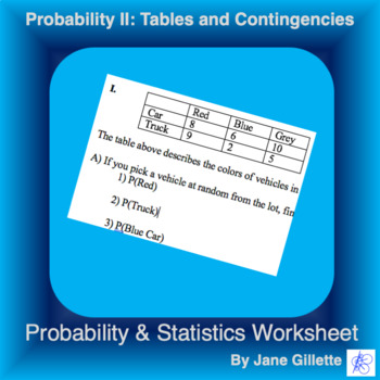 Probability II: Tables and Contingencies