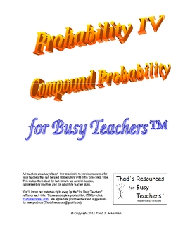 Probability IV - Compound Probability for Busy Teachers