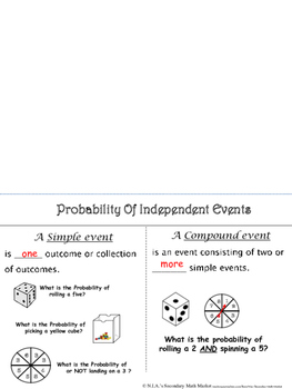 Probability - Independent Events Foldable