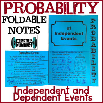 Probability Independent and Dependent Events Foldable Notes Interactive Notebook