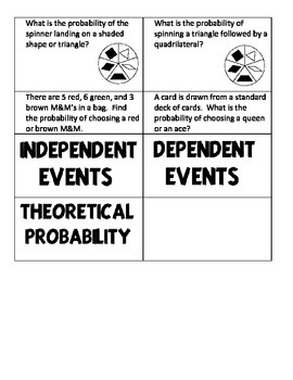 Probability Independent and Dependent Events Matching Activity