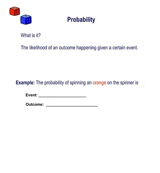 Probability Lesson with Smartboard, Differentiated Workshe