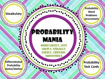 Probability Mania Bundle games, vocab, assessment, word pr