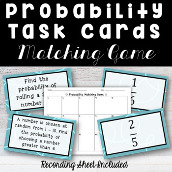 Probability Matching Game Task Cards