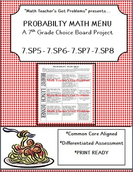 Probability Math Menu: A Choice Board Project