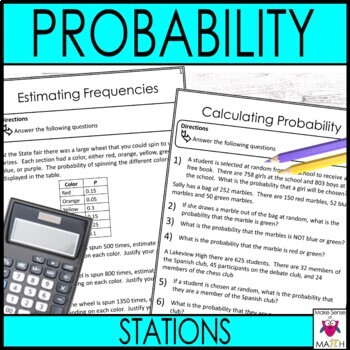 Probability Math Stations  :  Middle School Math Stations