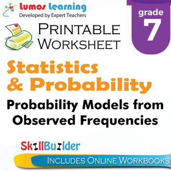 Probability Models from Observed Frequencies Printable Worksheet, Grade 7