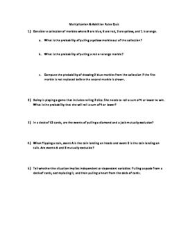 Probability Multiplication and Addition Rules Quiz