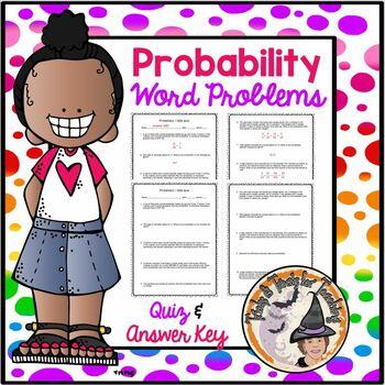 Probability Odds Word Problems QUIZ Practice Worksheet Test Homework