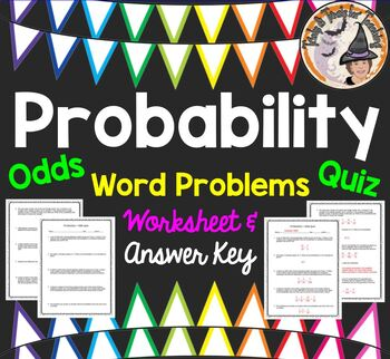 Probability Odds Word Problems QUIZ Practice Worksheet Test Homework