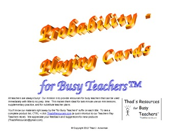 Probability - Playing Cards for Busy Teachers
