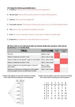 Probability Pre-Test Answers