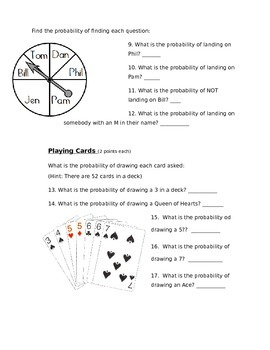 Probability - Probability and Ratios Assessment (Test)