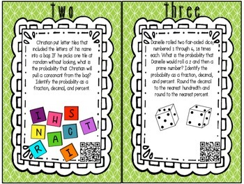 Probability Task Cards with QR Codes