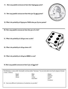 Probability Quiz & Answer Key