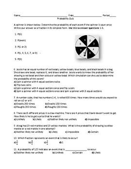 Probability Quiz: 7th Grade Unit 6