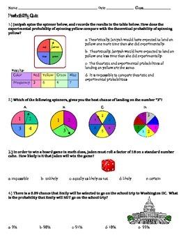 Probability Quiz ~ Middle grades