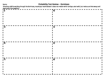 Probability Review Dominoes
