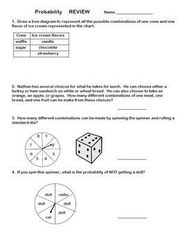 Probability Review Word Problems Tree Diagrams Odds Probable Probability as FDP