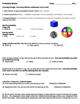 Probability Review- aligned to common core