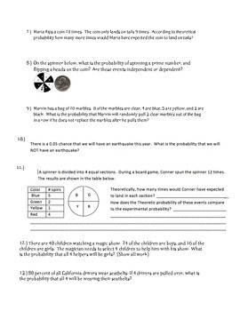 Probability Study Guide 7th Grade Math