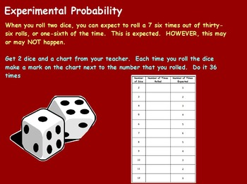 Probability - Rolling the Dice Experiment (worksheet Included) (SMART BOARD