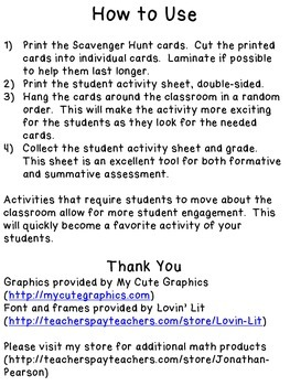 Probability Scavenger Hunt  20 Probability Questions with Student Sheet