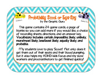 Probability Scoot and Eye-Spy