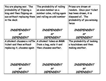 Probability Sort - Independent vs. Dependent