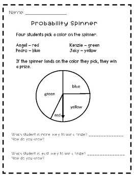 probability spinner worksheet by chungry for learning tpt. Black Bedroom Furniture Sets. Home Design Ideas