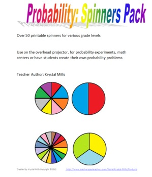probability spinners pack by krystal mills teachers pay teachers. Black Bedroom Furniture Sets. Home Design Ideas