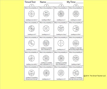Probability Spinners Worksheet 2