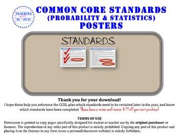Probability & Statistics Standards Posters (California)
