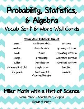 Probability, Statistics, and Algebra Vocab