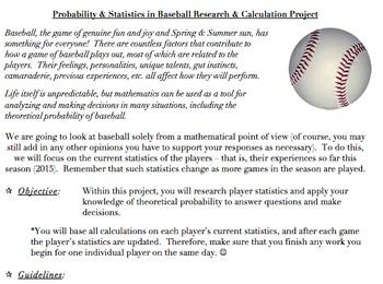 Probability & Statistics in Baseball Project (Common Core Aligned, AND FUN!)
