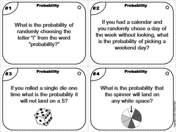 What's the Probability Task Cards 4th 5th 6th Grade