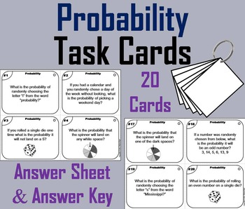 What's the Probability Task Cards/ Probability Practice 4t