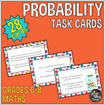Probability Task Cards - Calculate Probability and Use Vocabulary