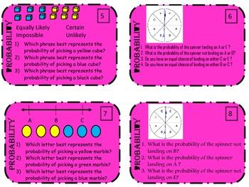 Probability Task Cards Purple Theme