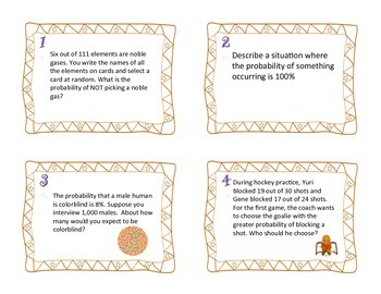 Probability Task Cards and Scavenger Hunt (Common Core Aligned)