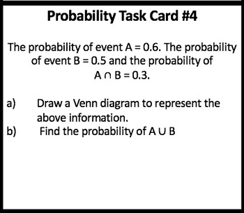 Probability Task Cards including Probability in a Nutshell Study Guide