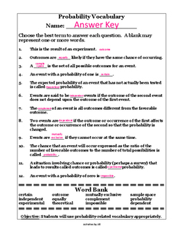 probability terms worksheet with word bank by activities by jill. Black Bedroom Furniture Sets. Home Design Ideas