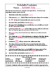 Probability Terms Worksheet with Word Bank