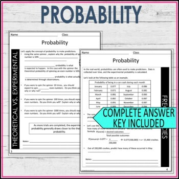 Probability Theoretical, Experimental, Compound Events, Frequencies Guided Notes