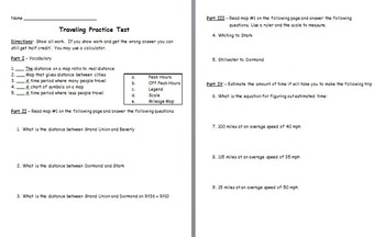 Probability - Travel (Reading Maps and Time Charts) Assessment (Test)