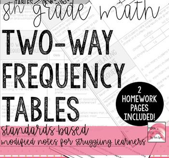 Probability - Two Way Tables - 4 pages - Modified Notes With Practice  Go Math