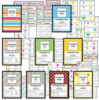 Probability Unit - 8 Math Center/Literacy/ Worksheets & Wordwall