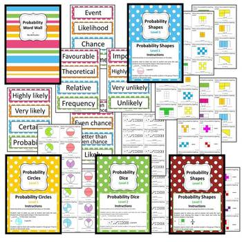 Probability Unit - 8 Math Center/Literacy/ Worksheets & Wordwall