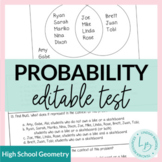 Probability Study Guide and Unit Test- Editable!!!